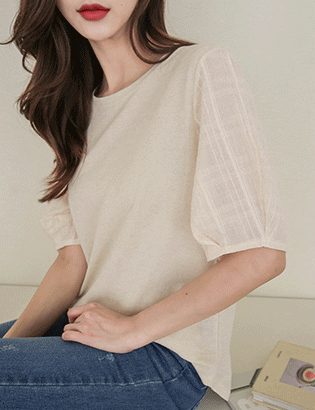 Volume sleeve color tee C050220